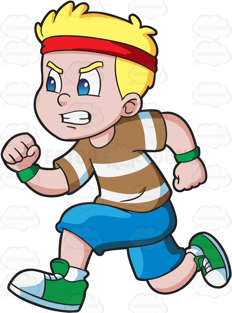 A young male kid with short blonde hair, wearing a red headband, green wristbands, brown with white striped shirt, blue shorts, green and white rubber shoes, grits his teeth as he runs and focuses on finishing the race